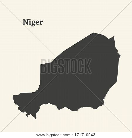 Outline map of Niger. Isolated vector illustration.
