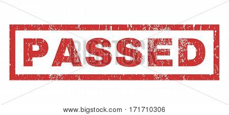 Passed text rubber seal stamp watermark. Tag inside rectangular shape with grunge design and dirty texture. Horizontal vector red ink sticker on a white background.