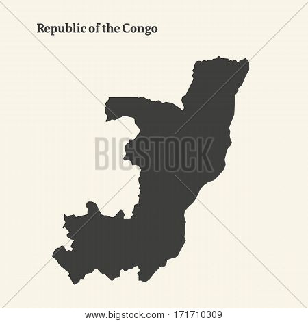 Outline map of Republic of the Congo. Isolated vector illustration.