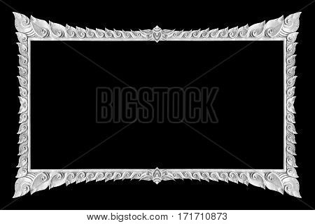 old decorative silver frame - handmade engraved - isolated on black background