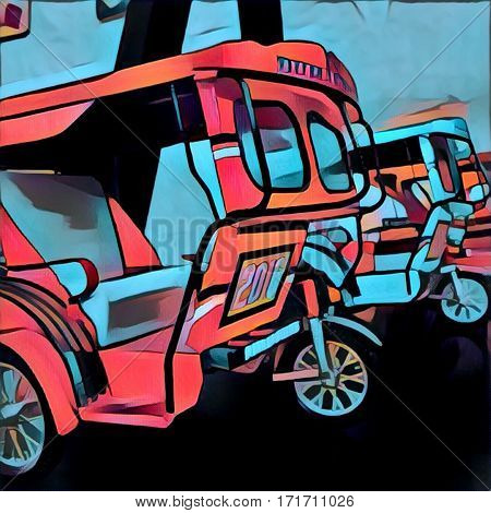 Digital illustration of tricycle toy. Public transport model in Philippines and other Asian countries. Exotic auto model. Filippino souvenir. Motorcycle with coach. Automotive gear tuktuk