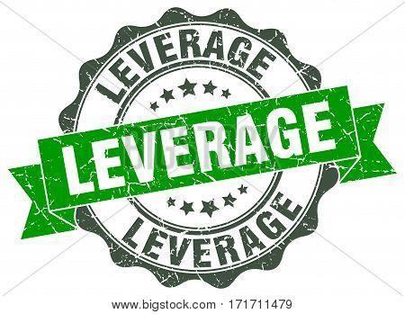 leverage. stamp. sign. seal. round. retro. ribbon