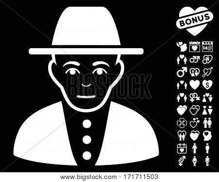 Jew icon with bonus valentine pictograph collection. Vector illustration style is flat iconic white symbols on black background.