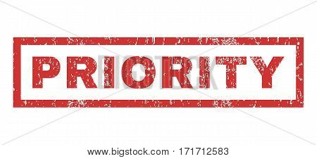 Priority text rubber seal stamp watermark. Caption inside rectangular shape with grunge design and scratched texture. Horizontal vector red ink emblem on a white background.