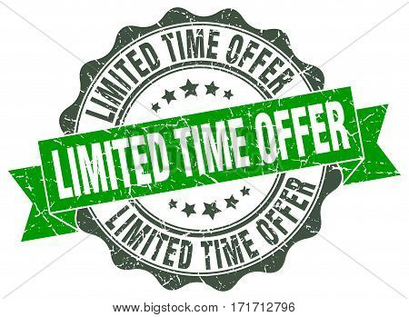 limited time offer. stamp. sign. seal. round. retro. ribbon