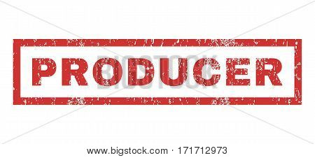Producer text rubber seal stamp watermark. Caption inside rectangular banner with grunge design and scratched texture. Horizontal vector red ink emblem on a white background.
