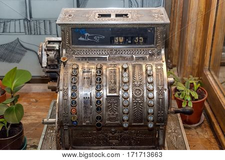 Antique cash, cashbox register made of metal.