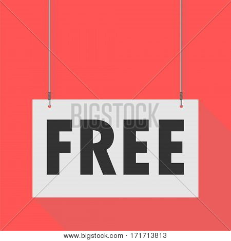 Simple Hanging Sign free on red background