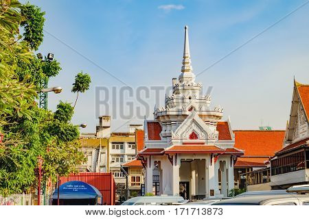 Bangkok, Thailand - December 22, 2015: Wat Chakrawatrachawat Woramahawihan is the famous Buddhist temple in Bangkok Thailand. It is located in Chinatown district, Bangkok, Thailand