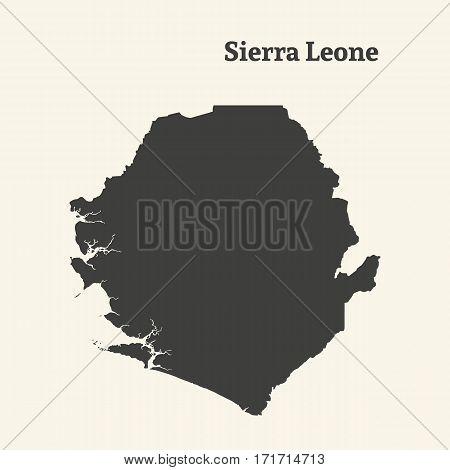 Outline map of Sierra Leone. Isolated vector illustration.