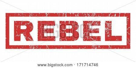 Rebel text rubber seal stamp watermark. Caption inside rectangular banner with grunge design and dirty texture. Horizontal vector red ink emblem on a white background.