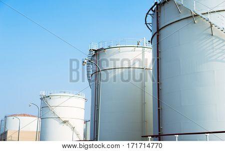 huge oil tanks in oil refinery plant