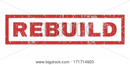 Rebuild text rubber seal stamp watermark. Tag inside rectangular shape with grunge design and unclean texture. Horizontal vector red ink sign on a white background.