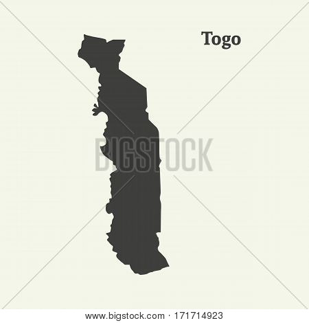 Outline map of Togo. Isolated vector illustration.