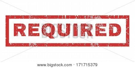 Required text rubber seal stamp watermark. Tag inside rectangular shape with grunge design and unclean texture. Horizontal vector red ink sign on a white background.