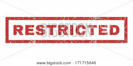 Restricted text rubber seal stamp watermark. Tag inside rectangular banner with grunge design and dirty texture. Horizontal vector red ink sticker on a white background.