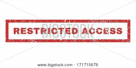 Restricted Access text rubber seal stamp watermark. Caption inside rectangular shape with grunge design and dirty texture. Horizontal vector red ink emblem on a white background.