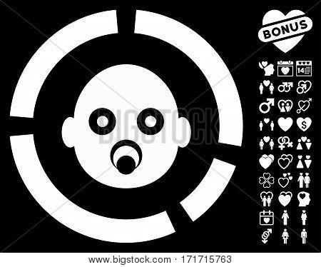 Newborn Diagram icon with bonus marriage design elements. Vector illustration style is flat iconic white symbols on black background.