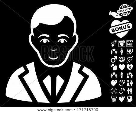 Noble pictograph with bonus decoration images. Vector illustration style is flat iconic white symbols on black background.