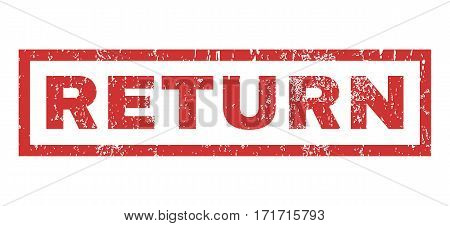 Return text rubber seal stamp watermark. Tag inside rectangular banner with grunge design and scratched texture. Horizontal vector red ink emblem on a white background.