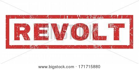 Revolt text rubber seal stamp watermark. Caption inside rectangular shape with grunge design and dust texture. Horizontal vector red ink sticker on a white background.