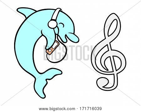 Dolphin with headphones and MP3 listening to music with music symbol