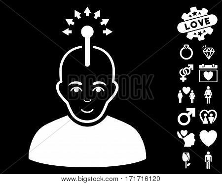 Optical Neural Interface icon with bonus decoration pictograms. Vector illustration style is flat iconic white symbols on black background.