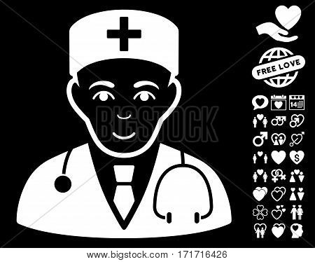 Physician pictograph with bonus lovely images. Vector illustration style is flat iconic white symbols on black background.