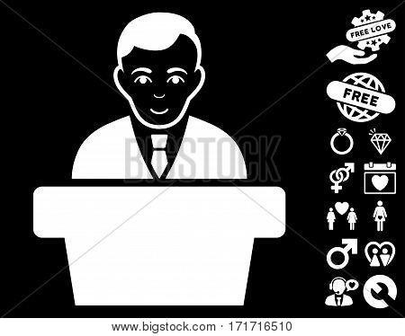 Politician icon with bonus love symbols. Vector illustration style is flat iconic white symbols on black background.
