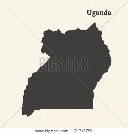 Outline map of Uganda. Isolated vector illustration.