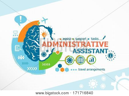 Administrative Assistant Related Words And Brain Concept.