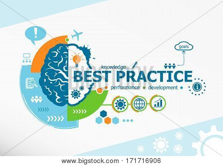 Best Practice Related Words And Brain Concept. Infographic Business.