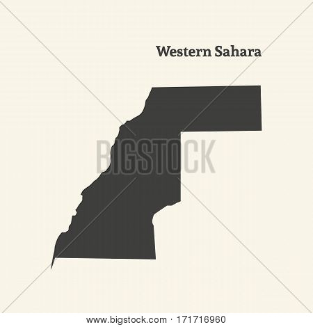 Outline map of Western Sahara. Isolated vector illustration.