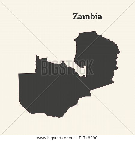 Outline map of Zambia. Isolated vector illustration.