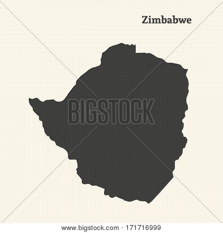 Outline map of Zimbabwe. Isolated vector illustration.