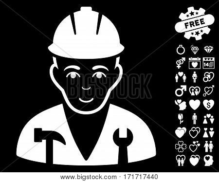 Serviceman pictograph with bonus passion design elements. Vector illustration style is flat iconic white symbols on black background.