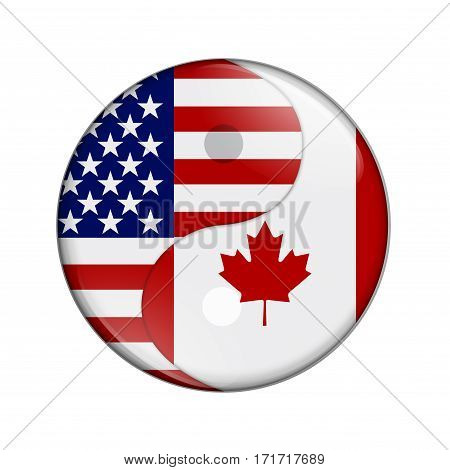 USA and Canada working together The US flag and Canadian flag on a yin yang symbol isolated over white 3D Illustration