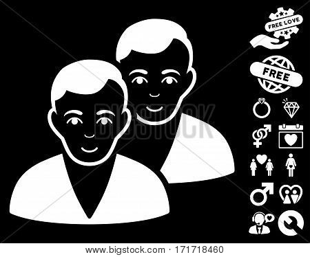 Users pictograph with bonus love pictograph collection. Vector illustration style is flat iconic white symbols on black background.