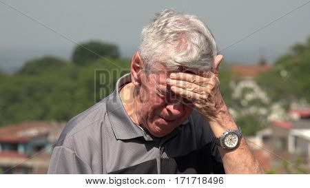 Sad And Tearful Old Man Or Senior