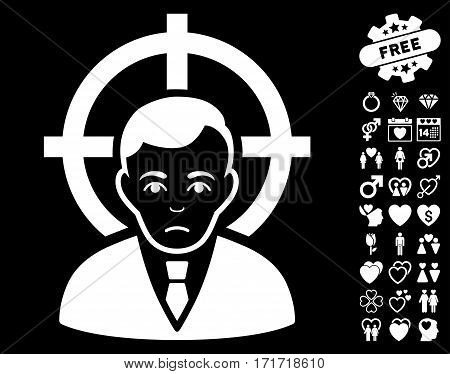 Victim Businessman pictograph with bonus decorative graphic icons. Vector illustration style is flat iconic white symbols on black background.