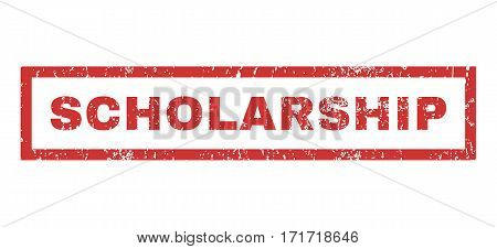 Scholarship text rubber seal stamp watermark. Tag inside rectangular shape with grunge design and scratched texture. Horizontal vector red ink sticker on a white background.
