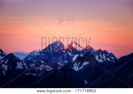 Dramatic Colorful Mountain Sunset In Mt Cook Area, Nz