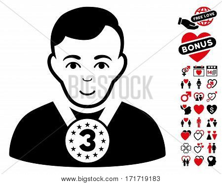 3rd Prizer Sportsman pictograph with bonus marriage clip art. Vector illustration style is flat iconic intensive red and black symbols on white background.