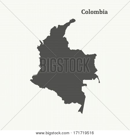 Outline map of Colombia. Isolated vector illustration.