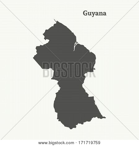 Outline map of Guyana. Isolated vector illustration.