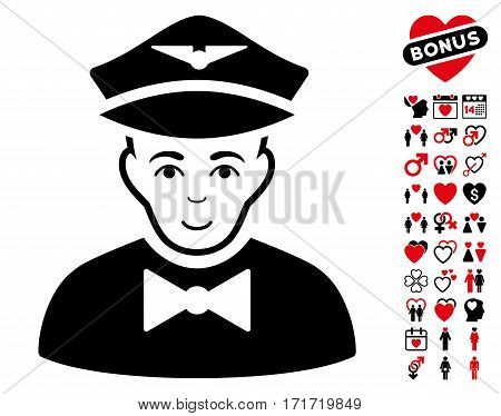 Airline Steward pictograph with bonus lovely icon set. Vector illustration style is flat iconic intensive red and black symbols on white background.