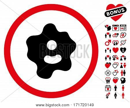 Ameba icon with bonus love design elements. Vector illustration style is flat iconic intensive red and black symbols on white background.