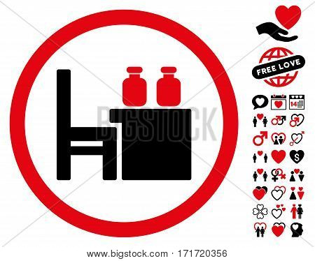 Apothecary Table pictograph with bonus decoration icon set. Vector illustration style is flat iconic intensive red and black symbols on white background.