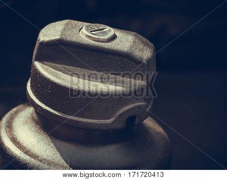 Detailed Closeup Of Plastic Fuel Cap
