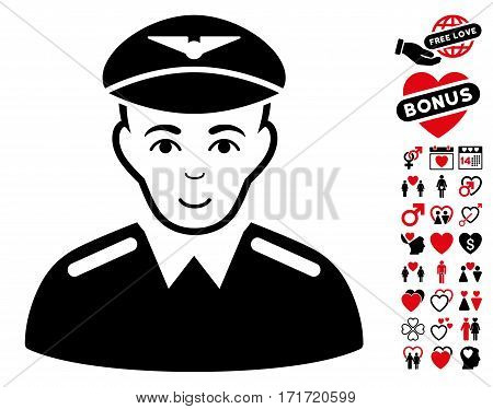 Aviator icon with bonus dating clip art. Vector illustration style is flat iconic intensive red and black symbols on white background.